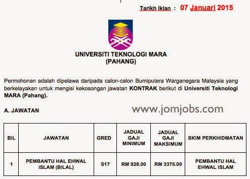 Iklan jawatan kosong Universiti Teknologi Mara Pahang 2015