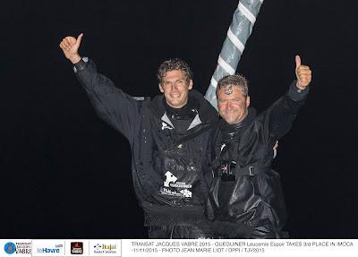 Yann Eliès et Charlie Dalin sur le podium de la Transat Jacques Vabre !