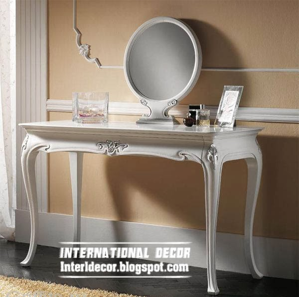 white dressing table with round mirror in luxury design, buy dressing table