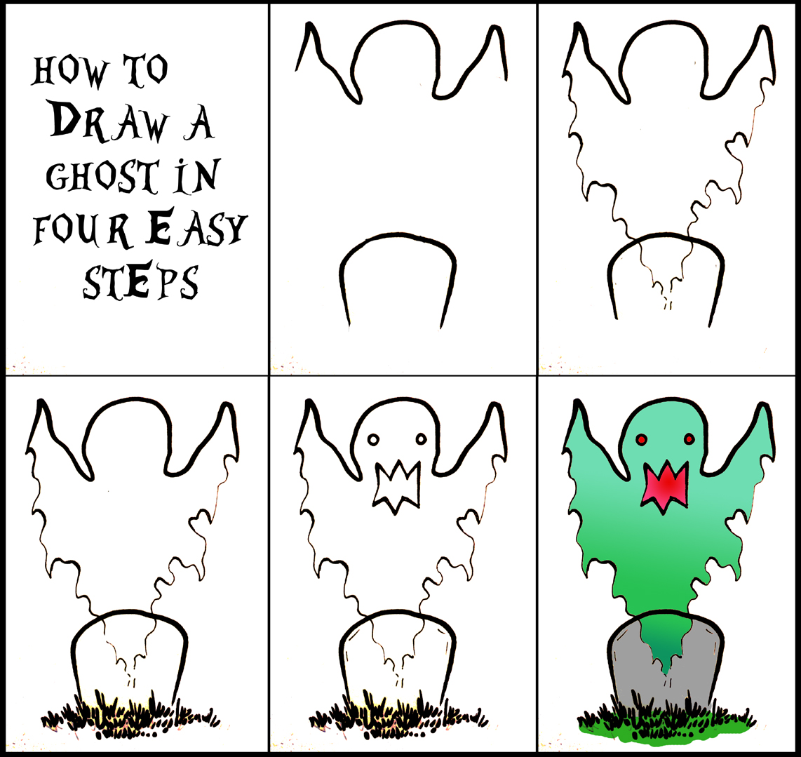 Uncategorized Easy Halloween Drawings Step Step halloween art how to draw a ghost 4 steps daryl hobson artwork steps