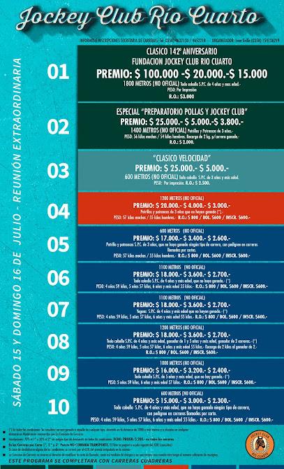 Llamado 15 y 16 de JULIO - JOCKEY CLUB RIO CUARTO