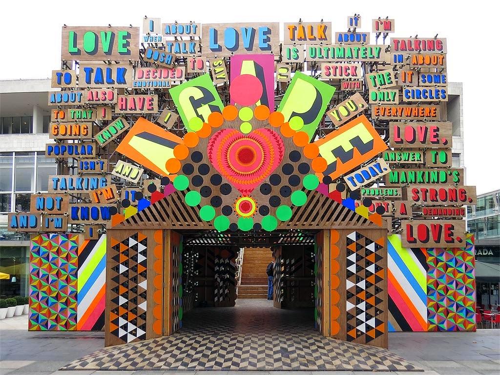 Temple of Agape by Morag Myerscough and Luke Morgan, Festival of Love, Southbank Centre, South Bank, Lambeth, London