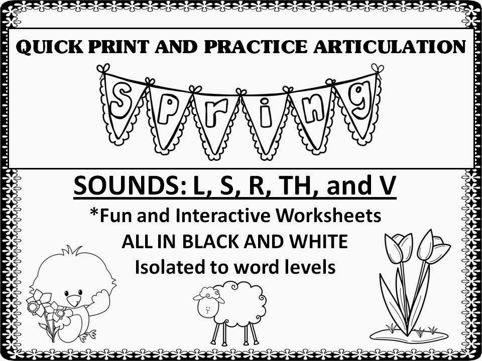 Twin Speech Language Literacy LLC 50 off QUICK PRINT AND – Articulation Worksheets