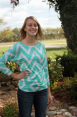 Dolman knit top from a chevron fabric