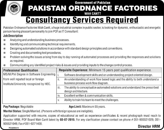 Pakistan Ordnance Factories Wah Cantt Job - Consultancy Services 26 June 2015