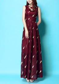 New 2016 Gold Embroidery Maroon Lace Maxi