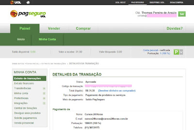 PagSeguro- pagamento recebido do Cursos 24 Horas