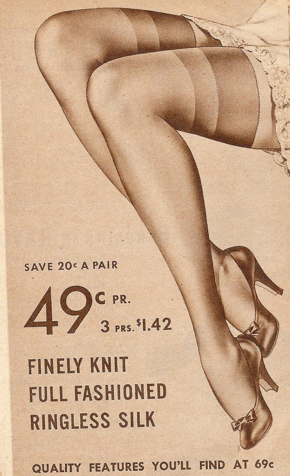 circa 1940's stocking legs. Did you realize that just forty years