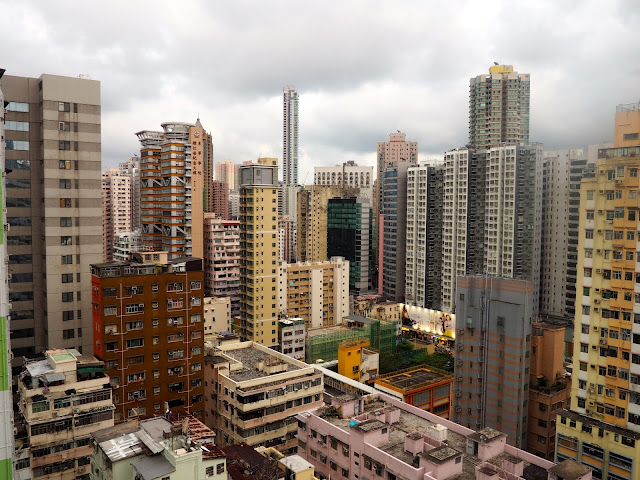 View of skyscraper buildings in Mong Kok, Kowloon, Hong Kong