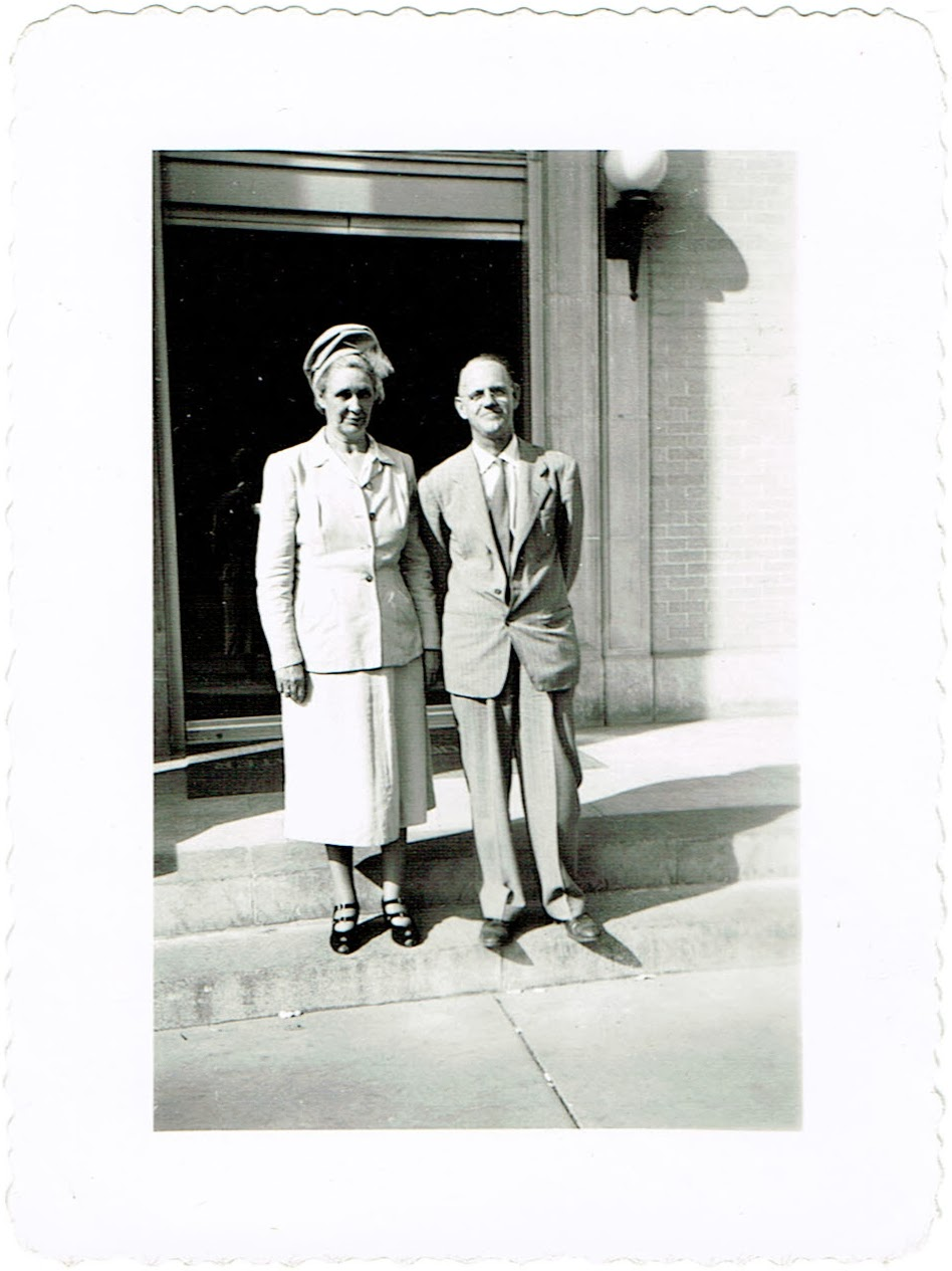 Lula and William Wall Smith in front of bank where he worked possibly in Clearwater Florida