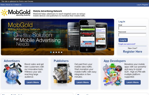 MobGold mobile advertising network