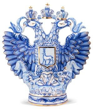 Vodka in a bottle similar on coat of arms of Russia