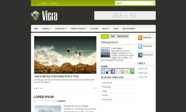 Free Simple Green Nature Blogger Layout Template