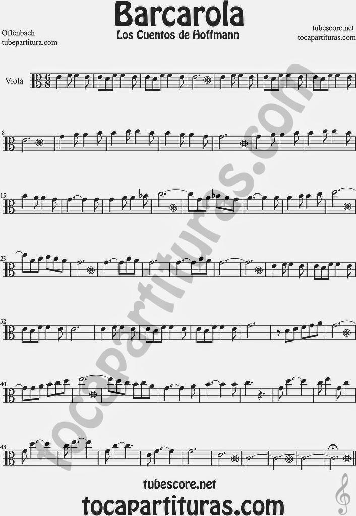 Barcarola Partitura de Viola Sheet Music for Viola Music Score Los cuentos de Hoffmann by Offenbach