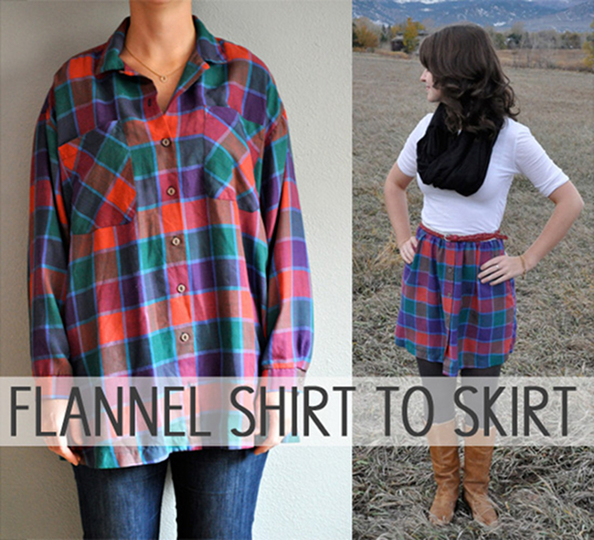 Randomly Happy | turn a flannel shirt into a skirt