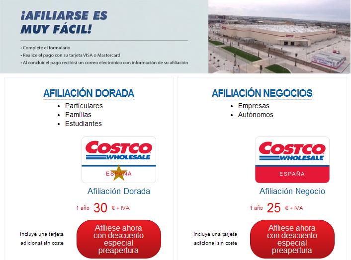 afiliación Costco, Costco España