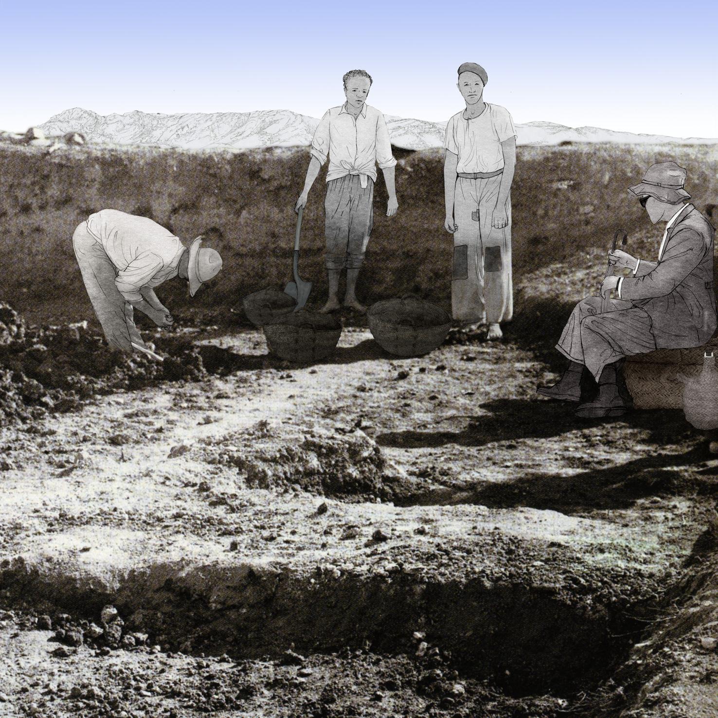 Bastida de les Alcusses, Isidro Ballester Tormo, obreros, dibujo