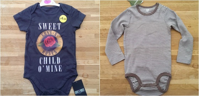 Asda and H&M baby clothes, Guns and Roses and brown stripes