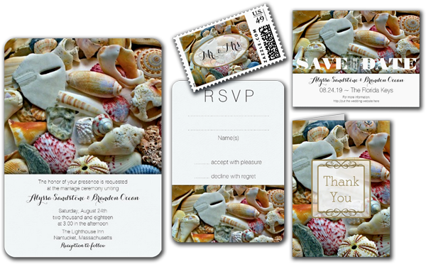Pink Beach Shells Custom Wedding Invitations