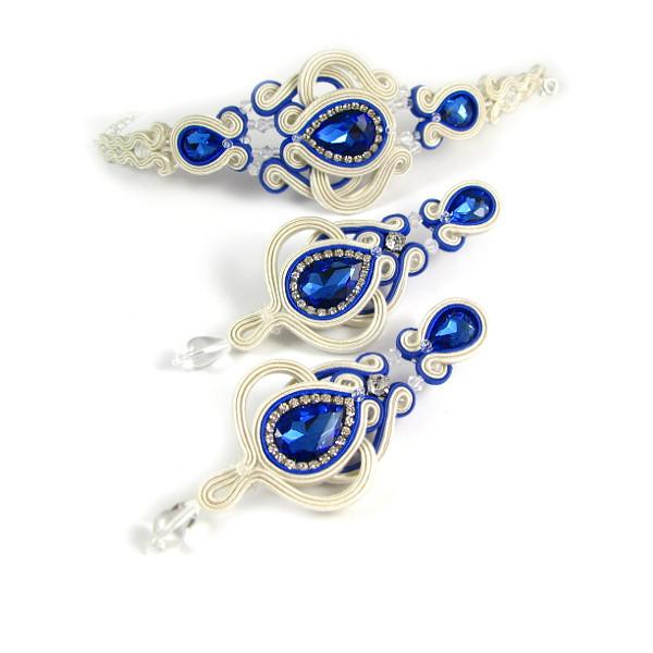 Ażurowy komplet ślubny sutasz z chabrowymi kryształami.