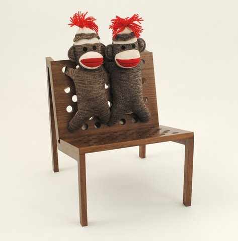 A Beautiful Walnut Wood Chair From Data Modern Furniture Made To Childrenu0027s  Proportions And Comes With Some Fun Cushioning   Genuine Schylling Sock  Monkeys.