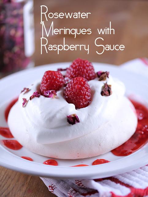 Rosewater Pavlovas with Raspberry Sauce | sweetpeasandsaffron.com
