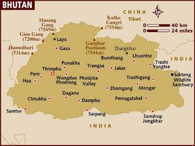Bhutan Karta Regional Städer