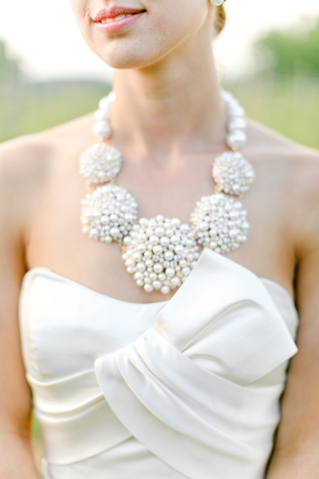 Simple wedding dress jewelry : Statement necklaces for brides belle the magazine