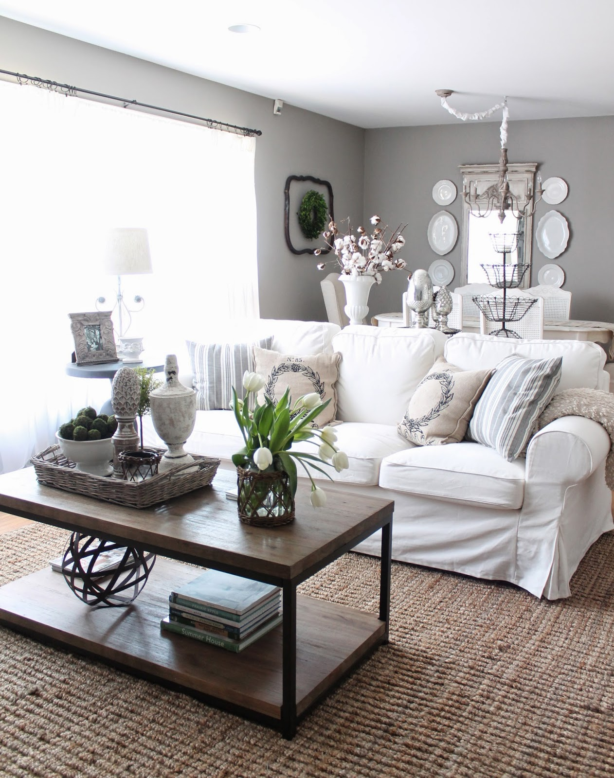 12th and white makeover round up our house six months later. Black Bedroom Furniture Sets. Home Design Ideas