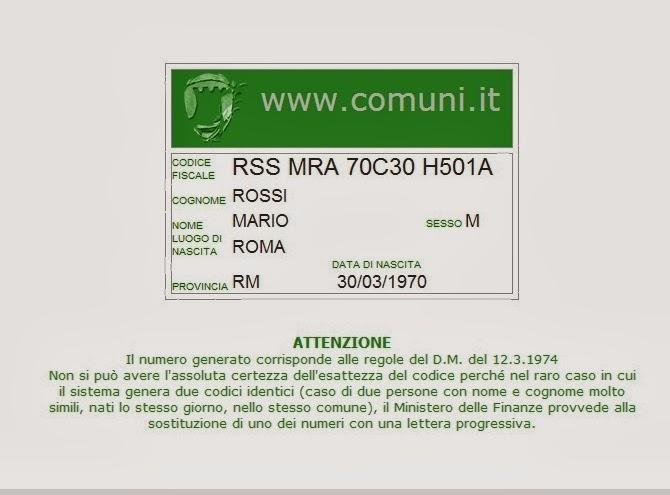 La nostra italia codice fiscale finalidades e curiosidades for Codice fiscale da stampare