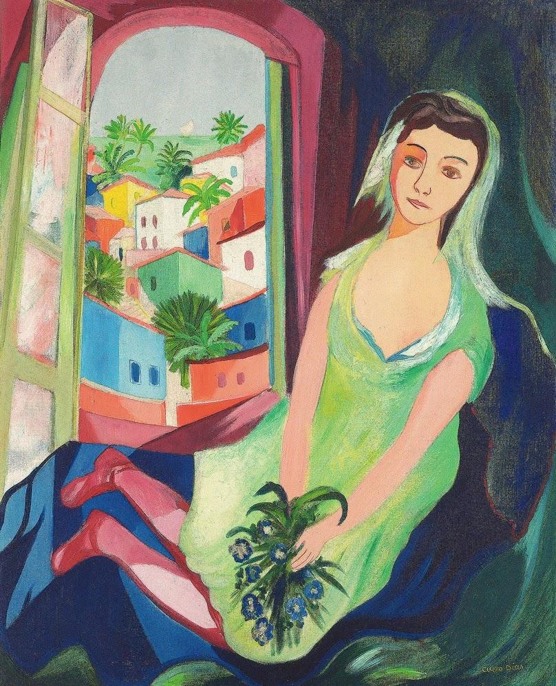 pintura de mulher na varanda