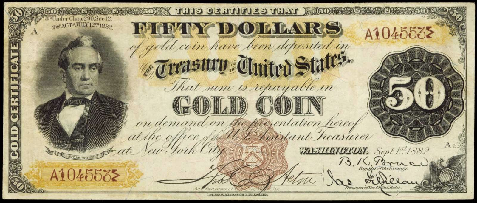 1882 50 US Dollar bill Gold Certificate Silas Wright