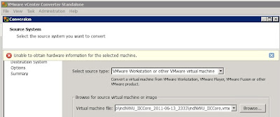 Vmware Converter 5 Unable To Obtain Hardware Information