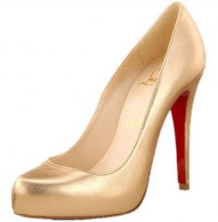 Christian Louboutin Gold Metallic Pump Girlfriend want most of present