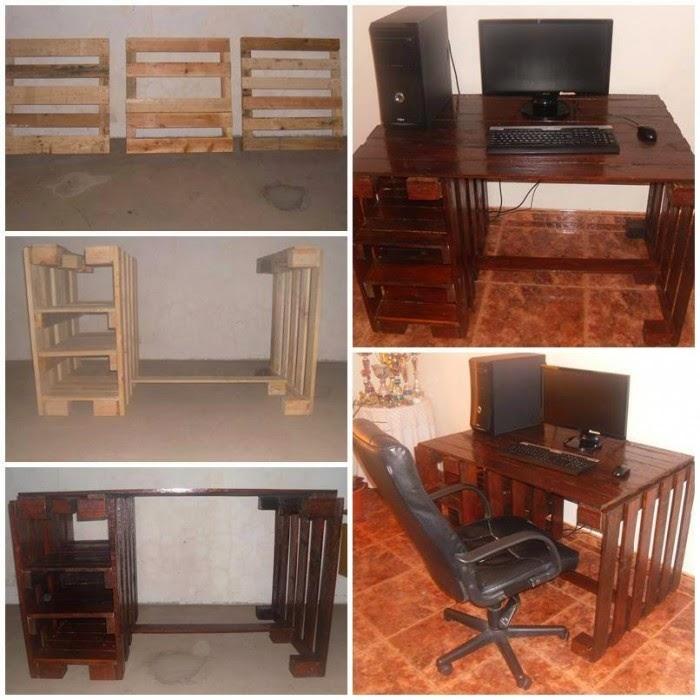 Como hacer un escritorio con palets for Reciclar palets de madera paso a paso