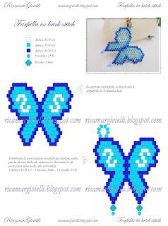 Schema Farfalla in brick stitch - Ricamar Gioielli