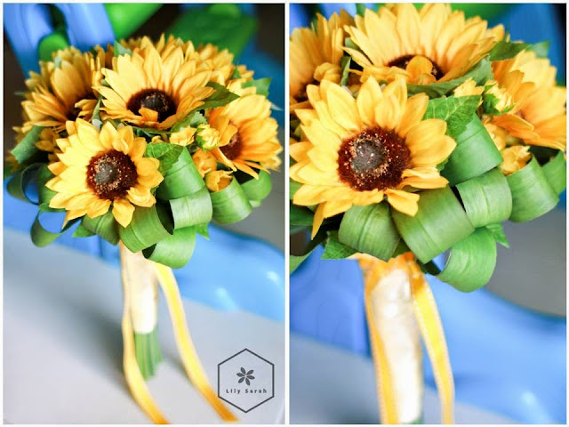 Bright and shiny sunflowers silk flower bouquet by lily sarah