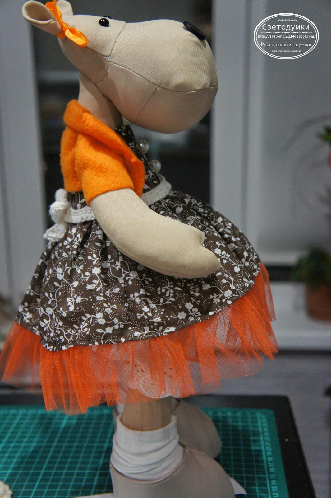 интерьерная игрушка, бегемот тильда, платье для тильды