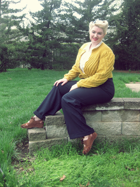 1940s date maker cardigan and heyday vintage clothing swing trousers
