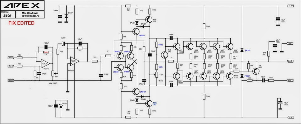 apex amplifier schematic design  apex b600 schematic