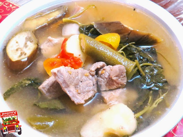 A bowl of hot Pork Sinigang sa Sampalok (Sinigang na Baboy)