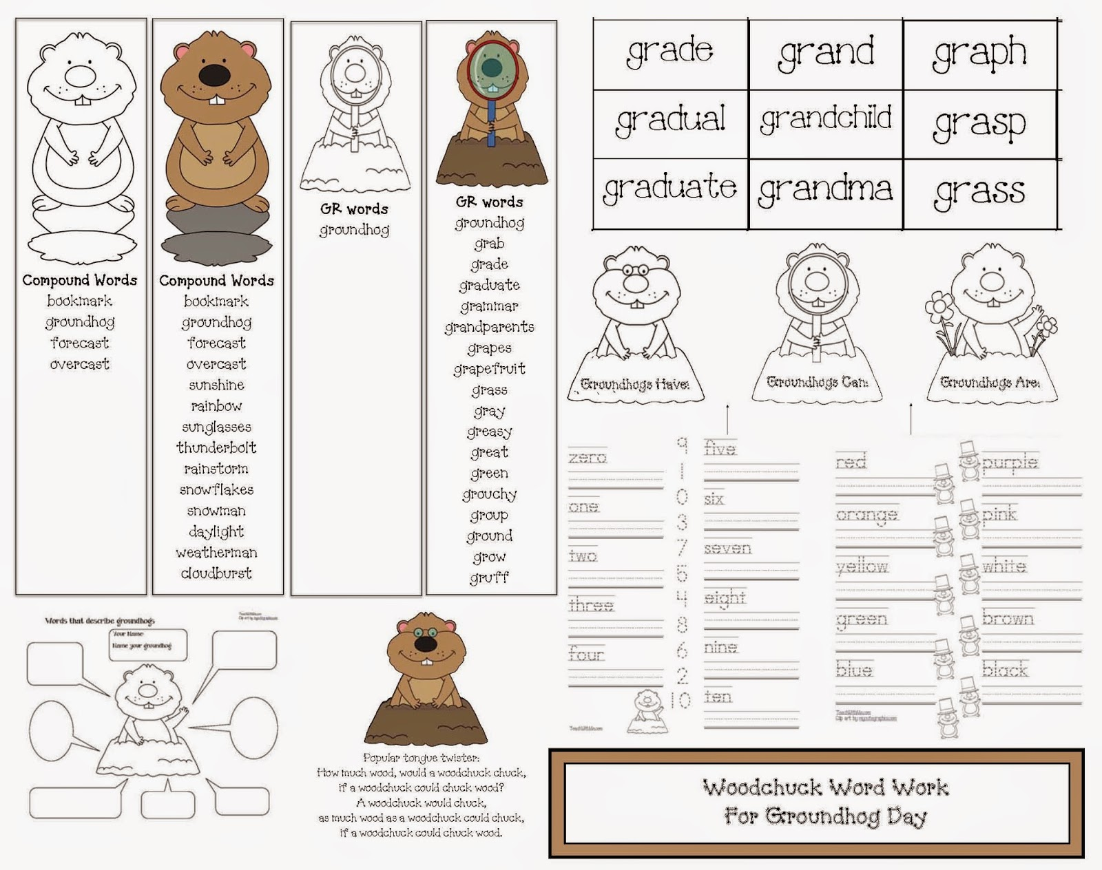Groundhog day worksheets free