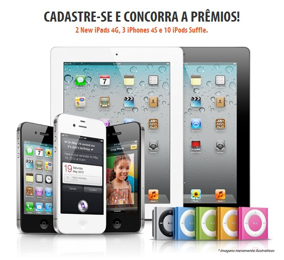 Ganhe 2 New iPads 4G, 3 iPhones 4S e 10 iPods Shuffe
