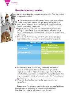 Apoyo Primaria Español 3er grado Bloque 4 lección 2 Práctica del lenguaje 11, Describir escenarios y personajes de cuentos para elaborar un juego