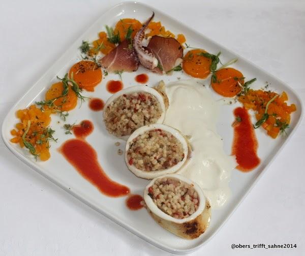 Tintenfischtuben mit Speck