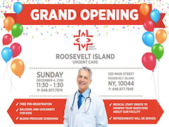 YOU'RE INVITED TO ROOSEVELT ISLAND URGENT CARE GRAND OPENING SUNDAY DECEMBER 2