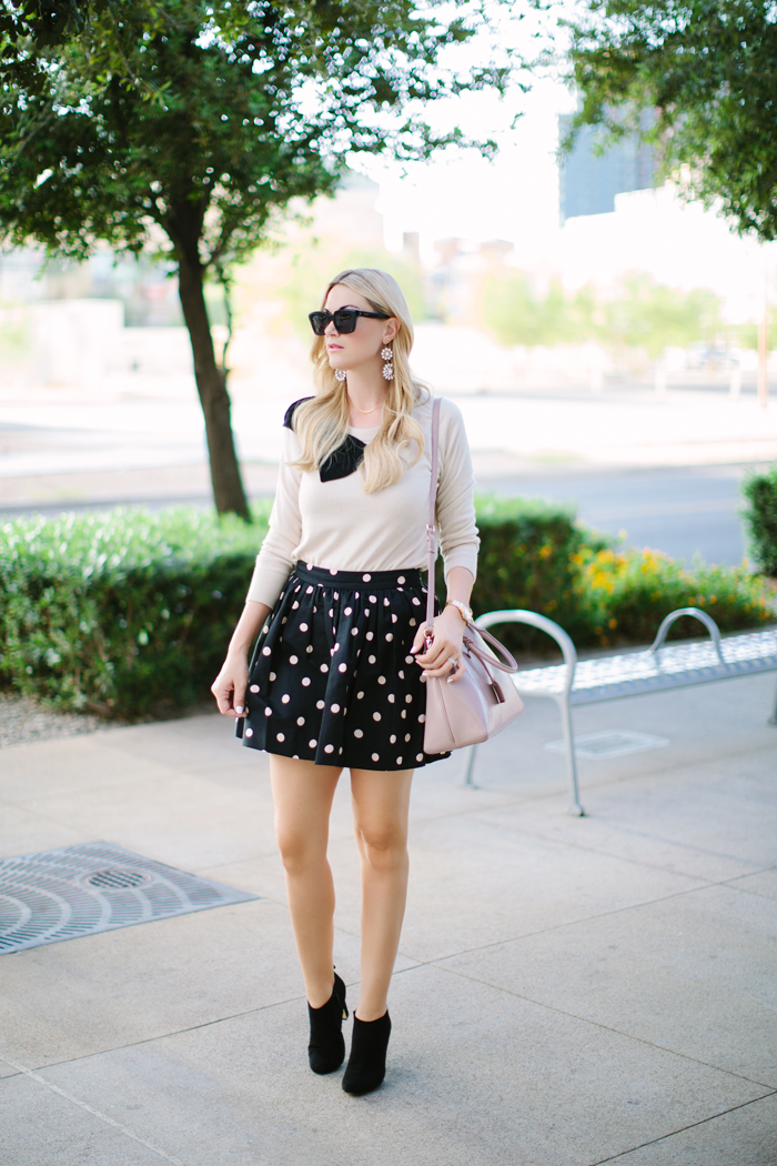 Kate Spade, Fall Collection, Fall Separates, Deco Dot, Polka Dot, Coreen, Mini, Skirt, Tan, Nude, Raglan, Bow, Slouchy, Sweater, Patent, Cedar Street, Margot, Bowler, Bag, Shoulder Strap, Cross Body, Purse, Black, Suede, Gold, Heel, Netta, Bootie, Boot, Ily Couture, Crystal, Dangle, Earrings, White, CND, Vinyl Lux, Nail Polish, Seaport, Watch, Celine, Sunglasses, Fall, Autumn, Caitlin Lindquist, A Little Dash of Darling, Outfit Inspiration, Fashion Blog, Blogger, Lifestyle, Street Style, Kate Spade Outfit, Shanghai Collection, Kate Spade September Collection, Arizona, Scottsdale, Phoenix, Blog