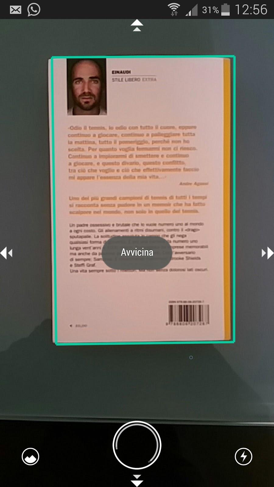 interfaccia della fotocamera incorporata di scanbot