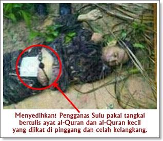 Mayat seorang pengganas Sulu didapati memakai tangkal yang diikat di pinggang