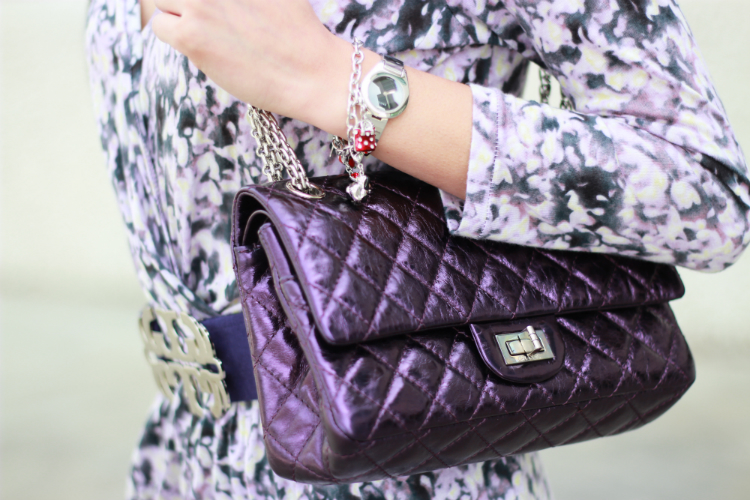 chanel purple metallic reissue classic flap
